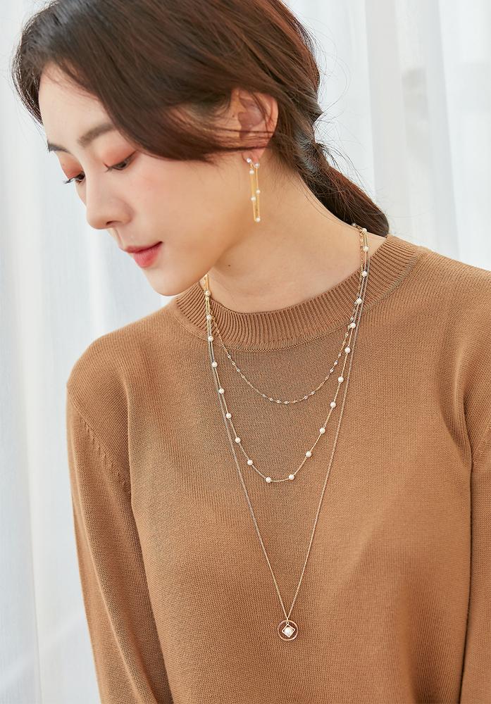 Eco安珂飾品,韓國項鍊,韓國項鏈,多圈項鍊,多圈項鏈,多層次項鍊,多層次項鏈,珍珠項鍊