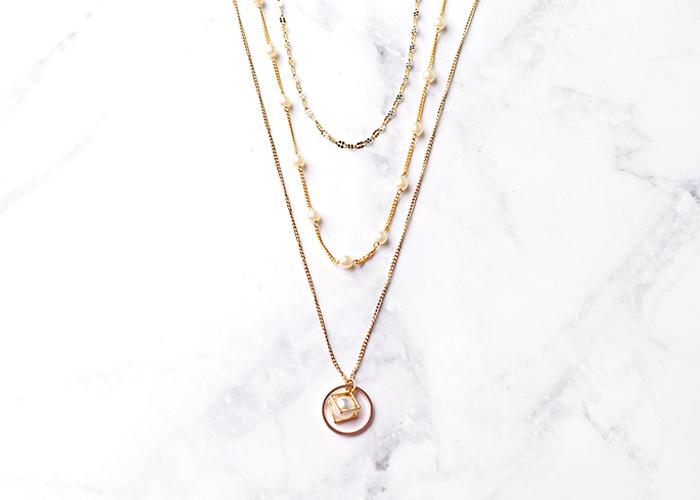 Eco安珂飾品,韓國飾品,韓國項鍊,韓國項鏈,多圈項鍊,多圈項鏈,多層次項鍊,多層次項鏈,珍珠項鍊