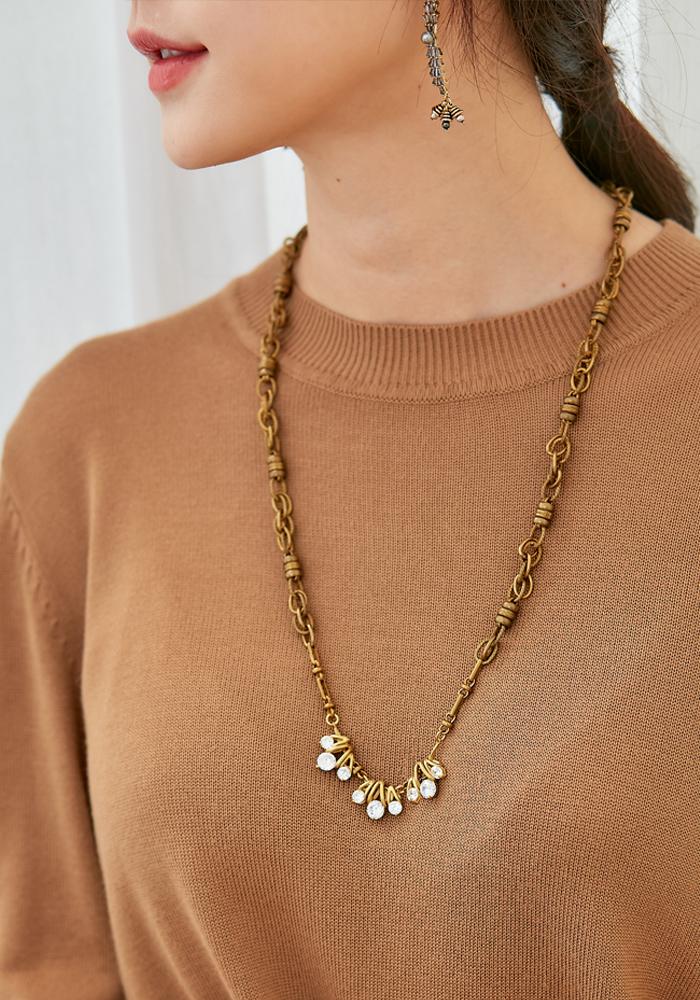 Eco安珂飾品,韓國飾品,韓國項鍊,韓國項鏈,長項鍊,長項鏈,黃銅項鍊,華麗項鍊