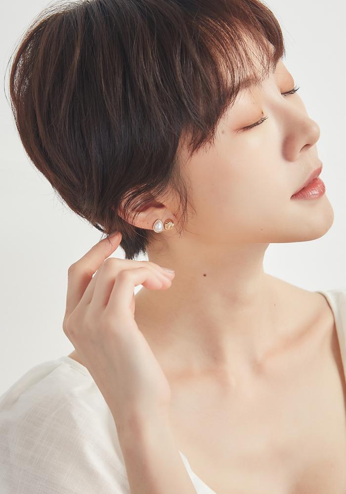 Eco安珂飾品,韓國耳環,耳夾式耳環,珍珠耳環,海洋飾品,夏天耳環,夏天飾品,海洋耳環,貼耳耳環,貝殼耳環